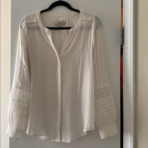 LOFT cream blouse with detailed sleeves